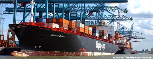 Container vessel of Hapag Lloyd is being loaded or unloaded at Noordzee terminal.<br><br><br>