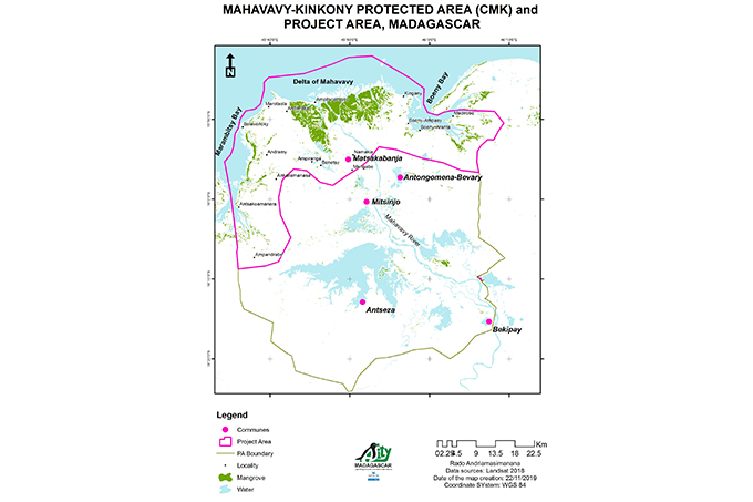 The location of the project area at the Mahavavy-Kinkony Complex (CMK) - Map: ASITY Madagascar