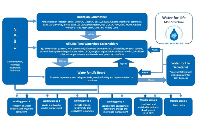"Overview of the governance structure in the ""Water for Life"" multi-stakeholder-partnership model (MSP)"
